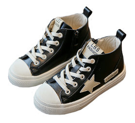 Leren sneaker Star – zwart