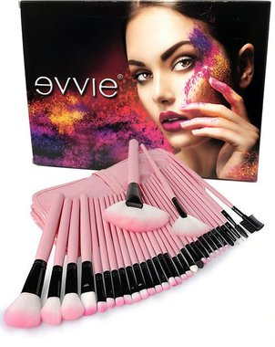 Evvie make-up kwasten set, 32-delig Basic Collection - roze - in giftbox