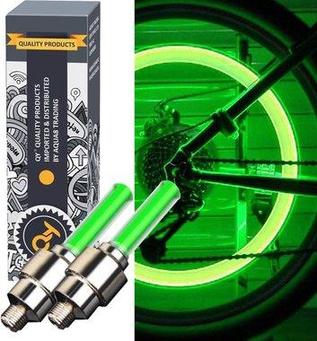 QY LED Fietswiel lampje –ventielbevestiging- set van 2- groen