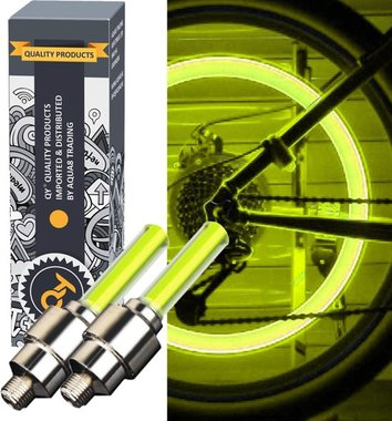 QY LED Fietswiel lampje –ventielbevestiging- set van 2- geel