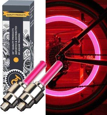 QY LED Fietswiel lampje –ventielbevestiging- set van 2- rood