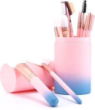Evvie Deluxe Edition 10-delige make-up kwastenset in lederen koker - Roze blauw