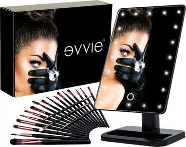 Evvie Cadeauset met make-up spiegel Deluxe met LED verlichting – inclusief 20-delige kwastenset