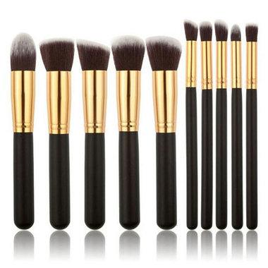 Set van 10 make-up kwasten kabuki zwart goud