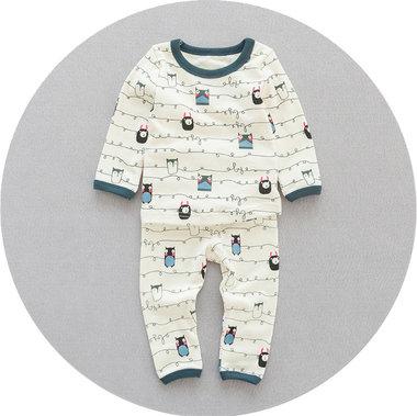 Pyjama Uil Creme/Blauw
