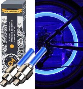 QY LED Fietswiel lampje –ventielbevestiging- set van 2- blauw