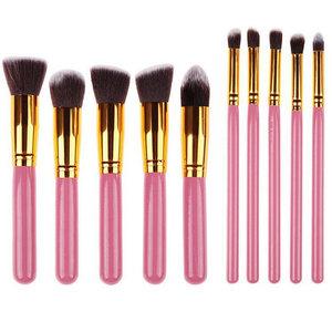 Set van 10 make-up kwasten kabuki roze goud