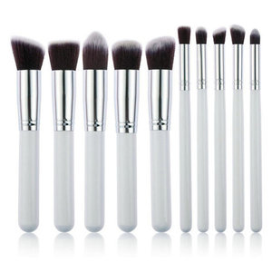 Set van 10 make-up kwasten kabuki wit zilver