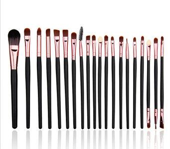 Set van 20 make-up kwasten voor oogschaduw, lippenstift, concealer en foundation