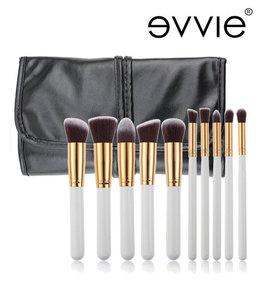 Set van 10 make-up kwasten kabuki wit/goud in hoes