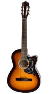 Goed klinkende klassieke gitaar in 4-4-formaat met met truss rod en chique afwerking - sunburst