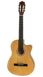 Goed klinkende klassieke gitaar in 4-4-formaat met met truss rod en chique afwerking - naturel